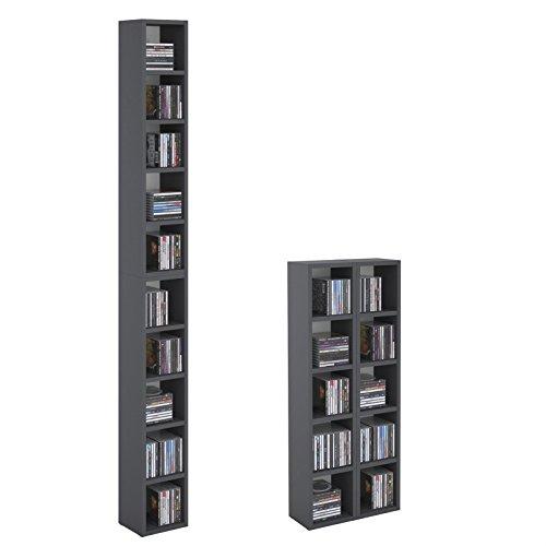 CARO-Möbel CD DVD Regal Ständer Aufbewahrung Chart, in Graphit grau mit 10 Fächern für bis zu 160 CDs, 20x186,5 cm (Breite x Höhe)