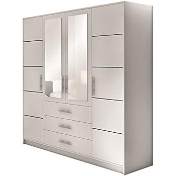 Kleiderschrank jugendzimmer weiß  Drehtürenschrank Bali 4D, Kleiderschrank mit Spiegel, Schubladen ...