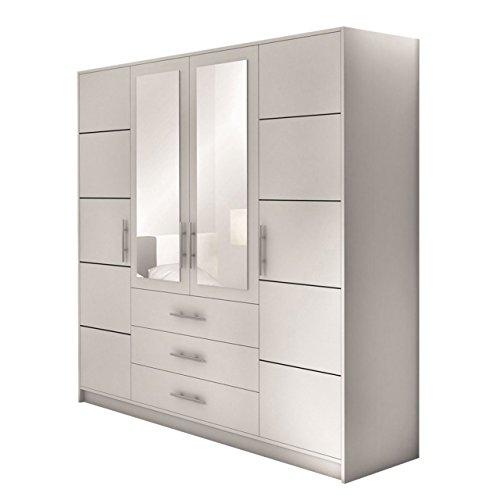 Drehtürenschrank Bali 4D, Kleiderschrank mit Spiegel, Schubladen und Spiegeltüren,...