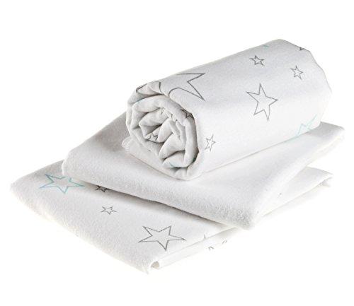 Moltontücher 3 Stück   saugstarke Molton Unterlage   Baby Spucktücher - 70x70 cm - Sterne Weiß / Kuschelig weiche und pflegeleichte ÖkoTex Baumwolltücher