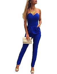 b625577bbfbc8 emmarcon Tuta Elegante Pantaloni Lungo Scollo Cuore Jumpsuit Vestito Abito  Cerimonia da Donna
