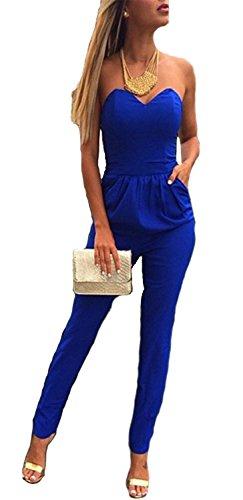 d56f1fed33d6 emmarcon Tuta Elegante Pantaloni Lungo Scollo Cuore Jumpsuit Vestito Abito  Cerimonia da Donna -Blue-M