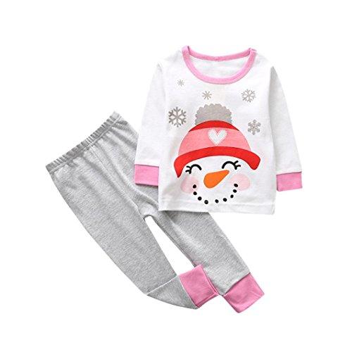 Sonnena, weihnachtliches Set für Kleinkinder und Babys, geeignet für Mädchen und Jungen, Oberteil mit Hose 5T Pink 2 Jungen Pyjama-set 5t