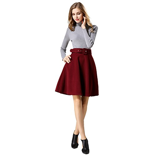 Homedecoam Damen Herbst Winter Rock Hohe Taille A-Linie Midi Party Röcke mit Gürtel aus Wollmischung Weinrot