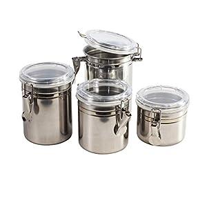 Acier inoxydable Thé café sucre Boîtes de rangement avec couvercles hermétiques–Lot de 4