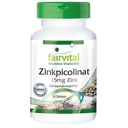 Zinkpicolinat mit 15mg Zink - 60 Tabletten - Reinsubstanz - Tipp für Haut, Haare und Nägel
