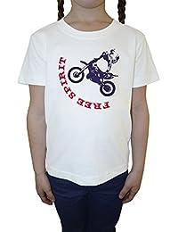 Free Sprint Blanco Algodón Niña Niños Camiseta Manga Corta Cuello Redondo Mangas White Girls Kids T-shirt