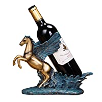 YJWKR Sculpture decoration Antique Pegasus Statue Wine Bottle Holder Decorative Resin Winged Horse Sculpture Wine Rack Constellation Barware Ornament Craft