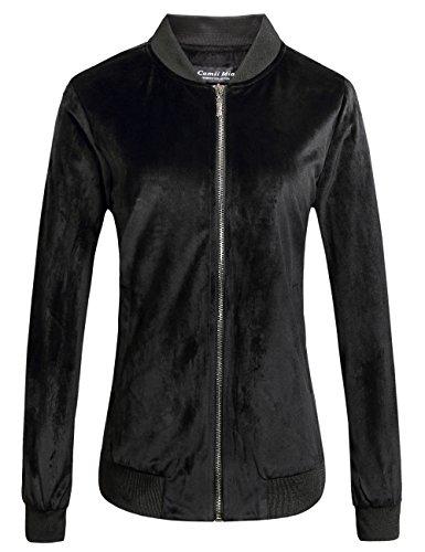 Camii Mia Damen Jacke SAMT Bomberjacke Langarm Reißverschluss Übergangsjacke Stehkragen Outwear Kurz Coat (Medium, Schwarz(9101))
