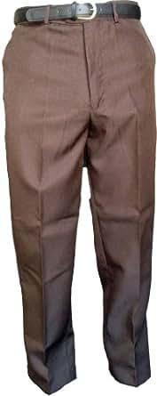"WWK Mens Formal smart casual trousers W30-48 & BELT leg 29"" - Brown - 34"""