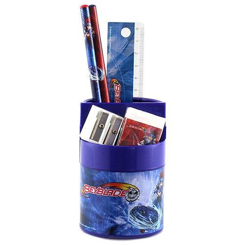 Beyblade Schulset Cup mit 2 Holzbleistifte, 1 Radiergummi, 1 Spitzer und 1 Lineal, Blister Card Apollo Cup