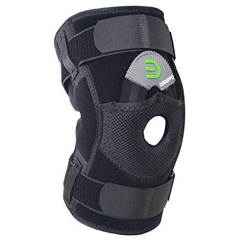 DISUPPO Verstellbare Kniebandage für Frauen Männer, Offene Patella stabilisierte Einstellbare Unterstützung für Sport Trauma, Verstauchungen, Arthritis (Scharniere Nicht abnehmbar, 3XL)