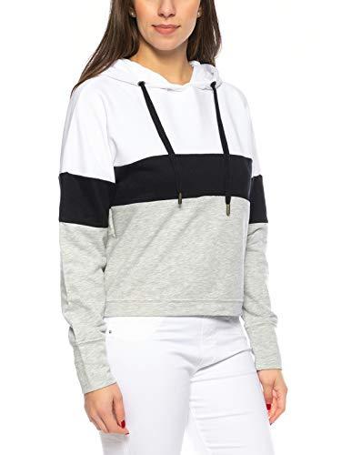ONLY Damen Kapuzenpullover onyDorit L/s Block Hood Sweater, Größe:M, Farbe:Grau Block Hood