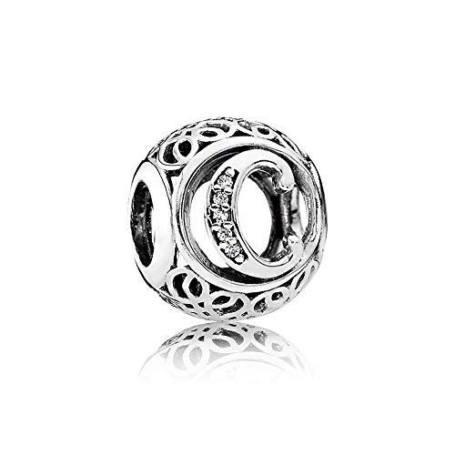 7419134a6456 Letter Alphabet Charm 925 Sterling Silver Charms Fits Pandora, European  Bracelets Compatible (Letter C)