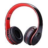 HLG Casque sans Fil de l'oreille avec Le Son stéréo en Veille 250h Pliable Support de Musique de Sport Plug in Cartoon avec Bluetooth sans Fil,Red
