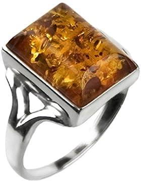 Bernstein Sterling Silber Rechteckige Ring