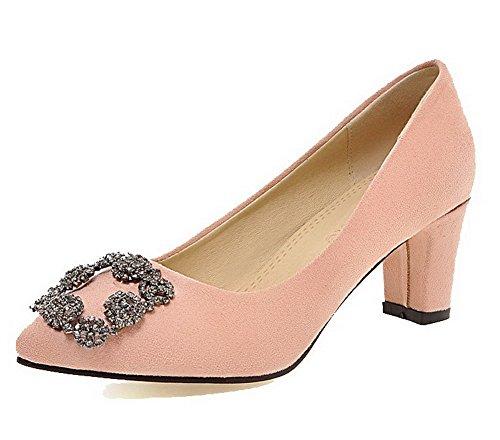 VogueZone009 Femme Suédé Couleur Unie Tire Pointu à Talon Correct Chaussures Légeres Rose
