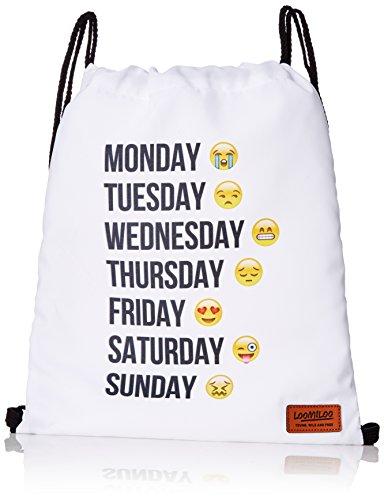 emoji sportbeutel Emoji Week Woche Emoticons Smileys Beutel Stringbag Jutebeutel Turnbeutel Sporttasche Hipster Sack Umhängetasche Loomiloo Swag (Weiß)