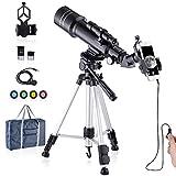 Telescopio actualizado HD 400/70mm Telescopio para niños y Adultos Telescopio Astronómico - observación de la Luna, observación de Aves, observación del Paisaje Natural, observación de la Ciudad