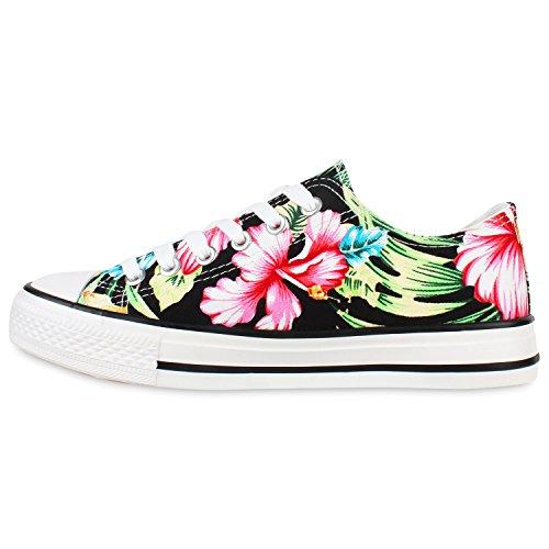 Damen Sneakers Low Blumen Prints Freizeit Schuhe Turnschuhe Schwarz Weiss Blumen