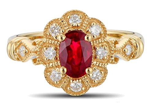 Epinki 18k oro donna fiore anello diamante anello donna oro con bianco rosso diamante rubino anello taglia 13,5