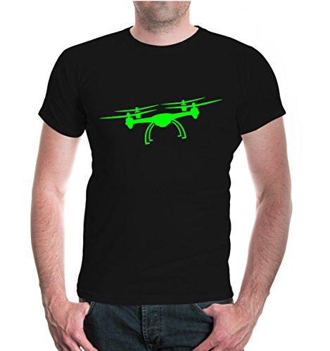 buXsbaum Herren Unisex Kurzarm T-Shirt Bedruckt Flugdrohne-Silhouette | Flugkörper Fluggerät Kamera | XXXL Black-Neongreen Schwarz