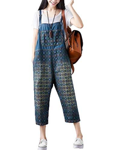 Vogstyle Damen Casual Printing Denim Jumpsuit Pantalons Art 9 Denim-jumpsuit
