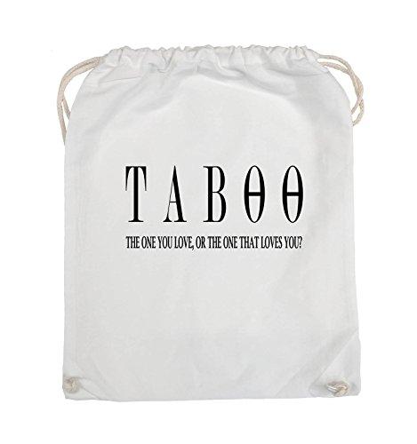 Comedy Bags - TABOO - LOGO2 - Turnbeutel - 37x46cm - Farbe: Schwarz / Silber Weiss / Schwarz