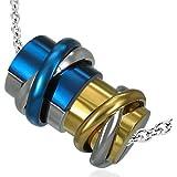 cored Edelstahl-Anhänger LEDERKETTE Halskette 50 cm Zylinder mit Ringen Metallic-Blau / Silber / Gold
