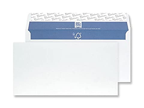 Premium Pure DL 110 x 220 mm Peel and Seal Wove Recycled Wallet - Super White (Pack of 50)