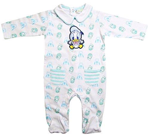 Donald Duck und Pluto Strampler Kollektion 2017 Strampelanzug 62 68 74 80 86 92 Jungen Einteiler Lang Baby Weiß-Blau (74-80, Weiß-Blau) (Donald Duck Anzug)