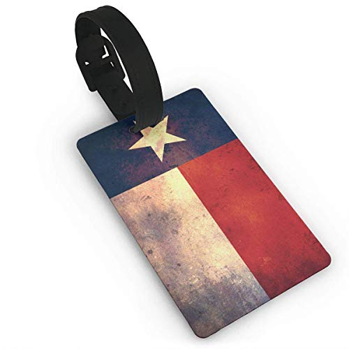 Texas State Flag Distressed PVC Luggage Tags Travel ID Labels Tag with Wristband