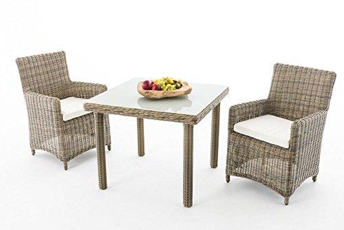 Gartenmöbel, Gartenmöbel-Set, Sitzgruppe Dorado M100, natura / creme-weiß, Polyrattan-Aluminium-Gestell, Gartengarnitur, Sitzgarnitur.