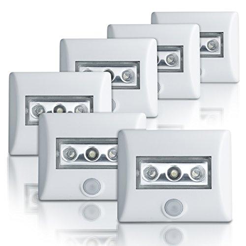 Integrierte Halogen Beleuchtung (Osram LED-Lampe, Nightlux, weiß, batteriebetrieben, integrierter Bewegungsmelder, Dämmerungssensor, IP54, Tageslicht - 7000K, 6er-Pack)
