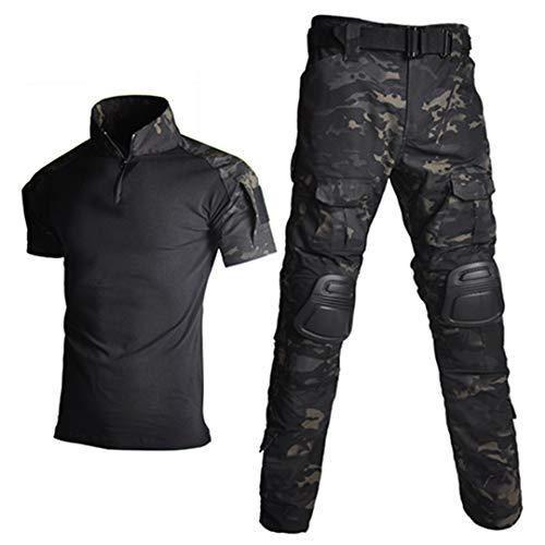JUNSHIFU Men Tactical Camouflage Uniform Militärische Kleidung Men Army Suits Combat Shorts Night Camo XL -