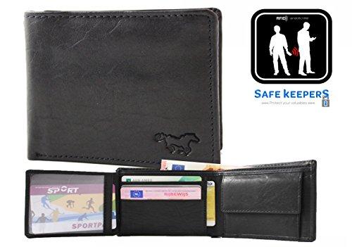Safekeepers Geldbörse mit kette RFID Biker Herrengeldbörse Leder Geldbeutel Geldtasche mit zuverlässiger RFID /NFC Schutztechnologie Schwarz