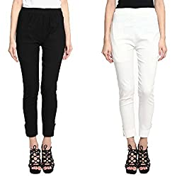 Broadstar Black & Offwhite Lam Lam Solid Palazzo Pant For Women- Pack Of 2