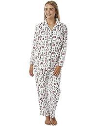 2f7089d828e0e3 Damen 100% Gebürstete Baumwolle Robin Aufdruck Winceyette Schlafanzüge.