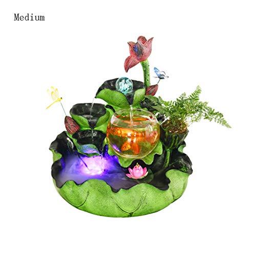 Kreative Wasserfall Brunnen Aquarium Wind Rad Landschaft Luftbefeuchter Dekoration Heimtextilien (Farbe : B, größe : Mittel)