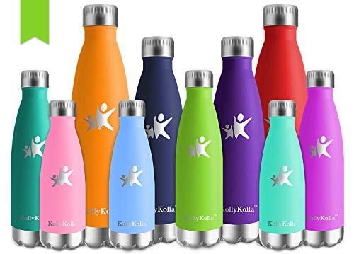 KollyKolla Vakuum Isolierte Edelstahl Trinkflasche, 750ml BPA Frei Wasserflasche Auslaufsicher, Thermosflasche für Sport, Outdoor, Fitness, Kinder, Schule, Kleinkinder, Kindergarten (Hellgrün) - Flasche Hellgrün