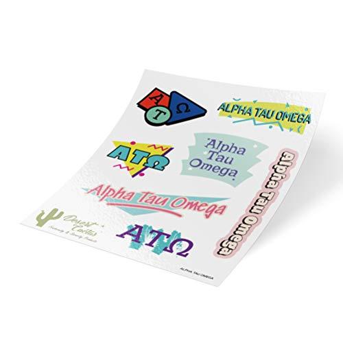 Alpha Tau Omega 90er Jahre Aufkleber Sticker Blatt Laptop Wasserflasche Auto (komplettes Blatt - 90's) -