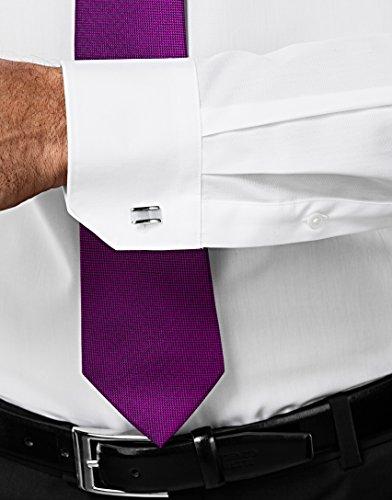 Vincenzo Boretti Herren-Hemd Haifisch-Kragen Bügelfrei 100% Baumwolle Slim-Fit Tailliert Uni-Farben - Männer Lang-Arm Hemden für Anzug mit Krawatte Business Hochzeit Freizeit Weiß