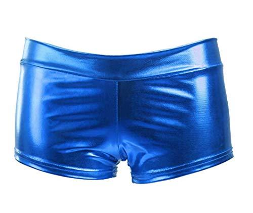 RAVERS Sexy Kunstleder-Shorts und sexy exotische Beinbandagen für Frauen, Wet-Look, Hot Pants Dance Bottom Night Club - Blau - Einheitsgröße