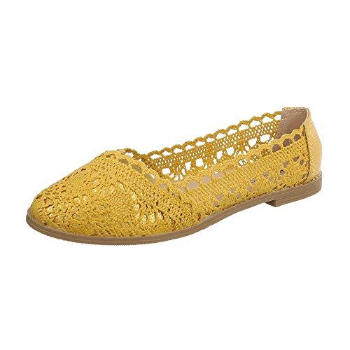 Ital-Design Klassische Ballerinas Damen-Schuhe Blockabsatz Luftig Leichte Gelb, Gr 37, 5121-
