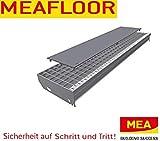 MEA   Meafloor – Gitterrost-Schutz-Auflage ohne Noppen (universal) für Baunormrost/Gitterroststufe   Anti-Rutsch-Wirkung – Ideal für hohe Schuhe, Hunde, Rollwagen, Lärm & Lichtschutz