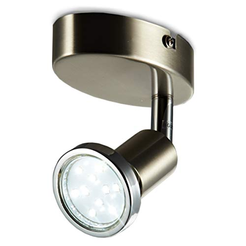 Lámpara de techo LED I Foco LED para techo y pared I Lámpara de salón I Luz de techo led I Plafón con Focos I Orientable I Incluye 1 LED GU10 I Color de la luz blanco cálido I Metal I Color níquel mate I 230 V I IP20 I 3 W