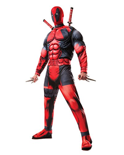 Marvel Deadpool Kostüm mit Deadpool Maske für Halloween, Fasching & Cosplay Standard (Marvel Cosplay Kostüme)