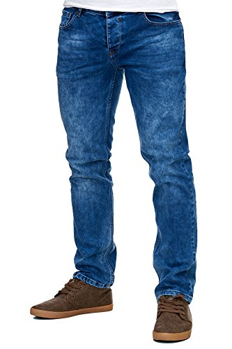 Reslad Jeans-Herren Slim Fit Basic Style Stretch-Denim Jeans-Hose RS-2063 Blau W36 / L32 -