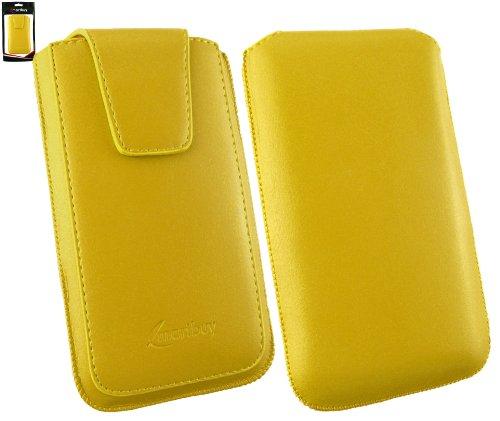 Emartbuy® Sleek Serie Gelb Luxury PU Leder Slide in Hülle Case Sleeve Holder ( Größe 4XL ) Mit Ausziehhilfe Geeignet für Oppo N1 Mini