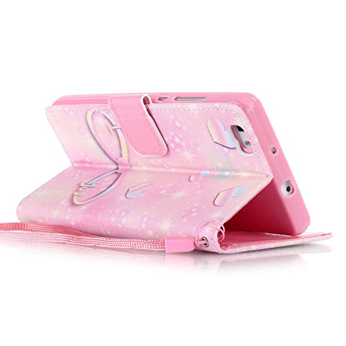 Meet de Huawei P8 Lite Bookstyle Étui Housse étui coque Case Cover smart flip cuir Case à rabat pour iPhone 4S Coque de protection Portefeuille - Never stop dreaming Rose illimité